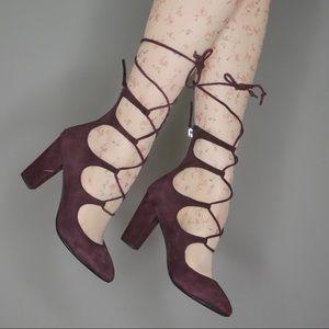 giuseppe zanotti plum suede lace up heels